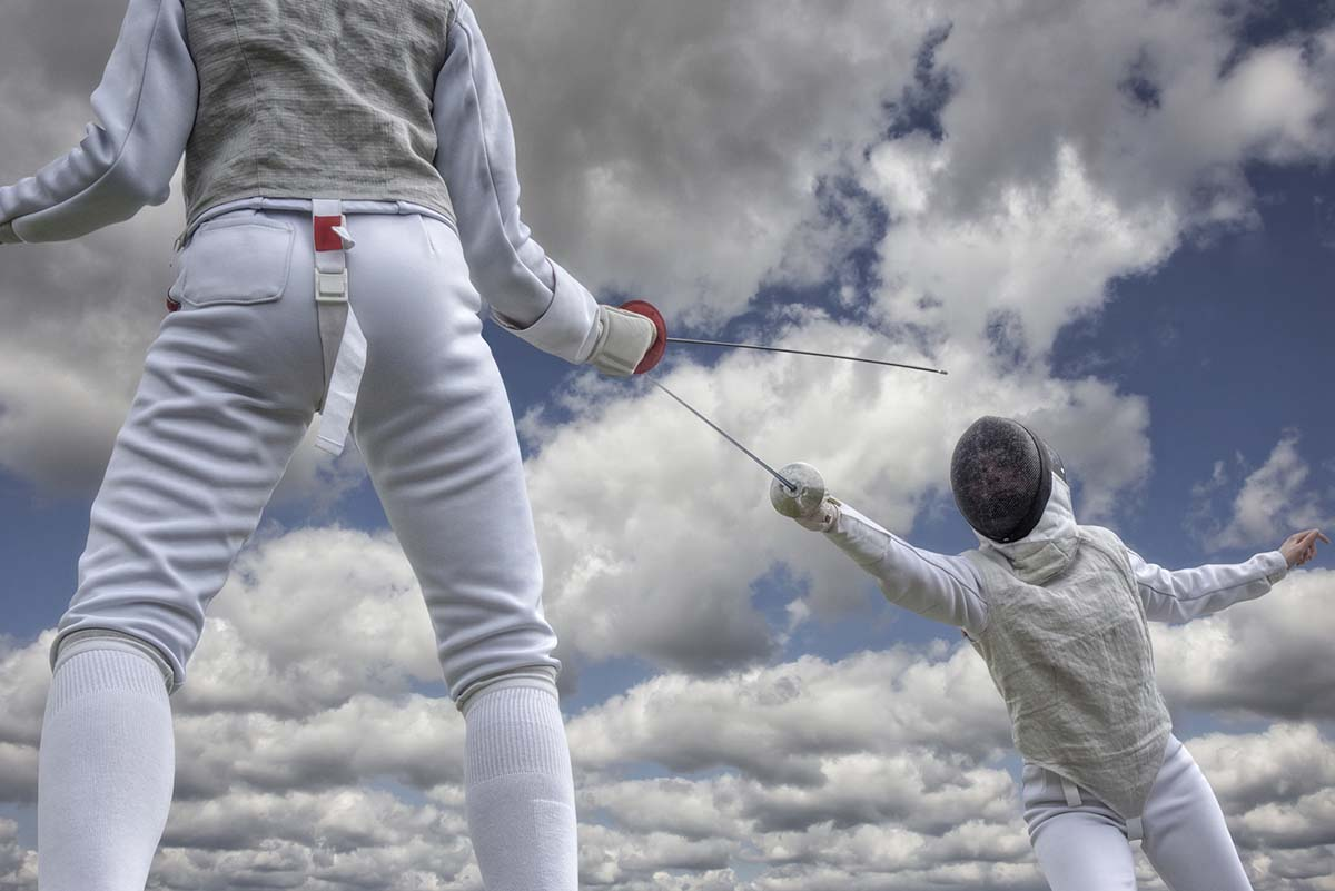 Fencing duel clouds