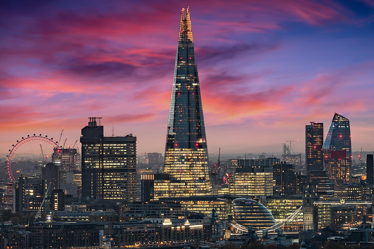The skyline of London during an intense sunset