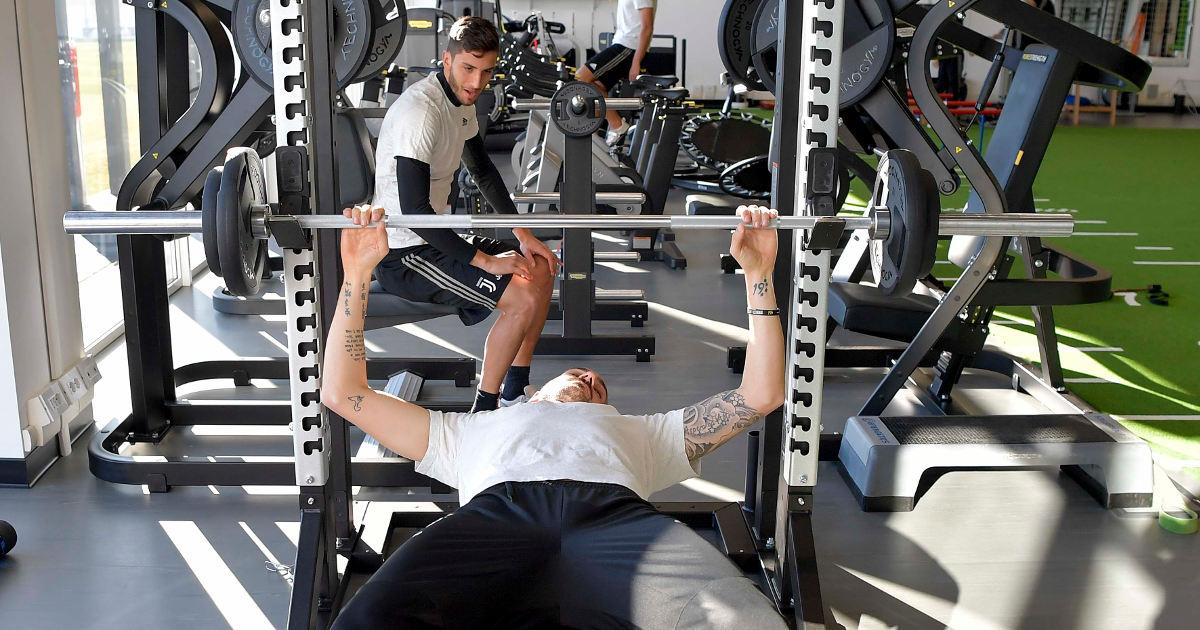 Juventus players while training